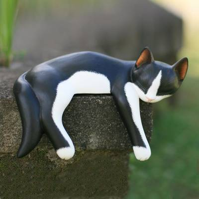 Wood statuette, 'Snoozing Tuxedo Cat' - Artisan Crafted Wood Sculpture
