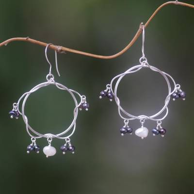 Pearl dangle earrings, 'Ode to Friendship' - Pearl dangle earrings