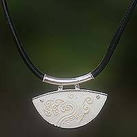 Leather pendant necklace, 'Ocean Wave' - Unique Leather and Cow Bone Necklace