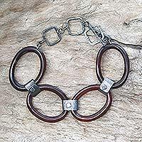 Sterling silver and horn link bracelet, 'Antilles Isles'