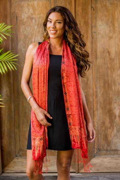 Silk batik shawl, 'Romantic Sunset' - Balinese Hand-Stamped Batik Orange Silk Shawl