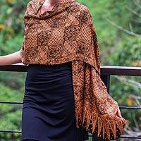 Silk batik shawl, 'Java Patchwork' - Artisan Crafted Floral Silk Patterned Shawl