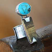 Turquoise and bamboo cocktail ring, 'Imagine' - Turquoise and Bamboo Cocktail Ring