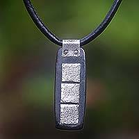 Leather and ebony pendant necklace, 'Three Islands' - Leather and ebony pendant necklace