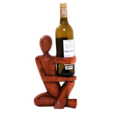 Hand Carved Wood Wine Bottle Holder
