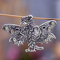 Garnet brooch pin pendant,