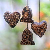 Wood batik ornaments, Royal Java (set of 4)