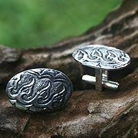 Sterling silver cufflinks, 'Hope for Victory' - Men's Sterling Silver Cufflinks