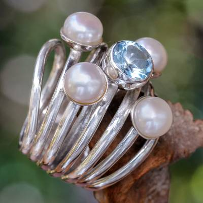 Pearl and topaz cocktail ring, 'Heavens Above' - Pearl and Blue Topaz Cocktail Ring