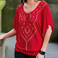 Blouse, 'Red Butterfly' - Blouse
