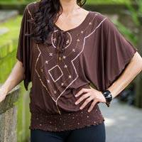 Blouse, 'Chocolate Butterfly' - Blouse