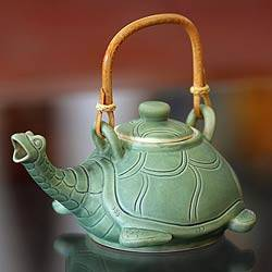Teapot, 'Lingering Turtle' - Unique Ceramic Teapot