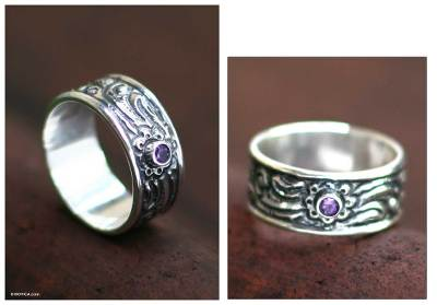 Amethyst men's ring, 'Nature' - Men's Hand Crafted Sterling Silver and Amethyst Band Ring