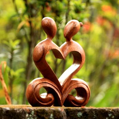 Wood sculpture, 'One Heart' - Handcrafted Romantic Wood Sculpture