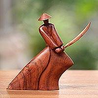Wood sculpture, 'Indonesian Samurai' - Handcrafted Wood Sculpture