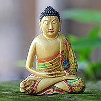 Wood statuette, 'Buddha in Meditation' - Hand Made Wood Sculpture