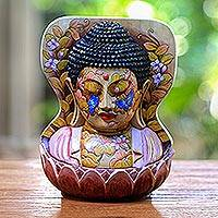 Wood statuette, 'Buddha at One with Nature' - Hand Painted Crocodile Wood Sculpture