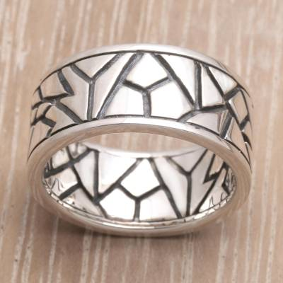 Hand Made Modern Sterling Silver Band Ring