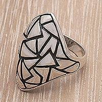 Sterling silver domed ring, 'Pyramidal Puzzle' - Sterling silver domed ring