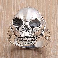 Mens sterling silver ring, Lunar Skull