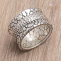 Men's sterling silver ring, 'Cobbled Paths'