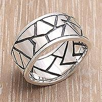 Men's sterling silver ring, 'Puzzle'