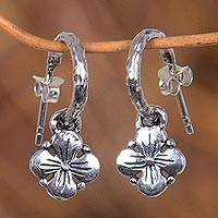 Sterling silver flower earrings, 'Tropical Nostalgia' - Floral Sterling Sivler Half Hoop Earrings