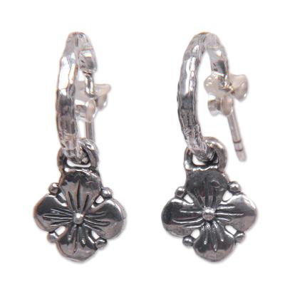 Floral Sterling Sivler Half Hoop Earrings