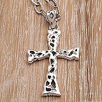 Men's sterling silver cross necklace, 'Celestial Light'