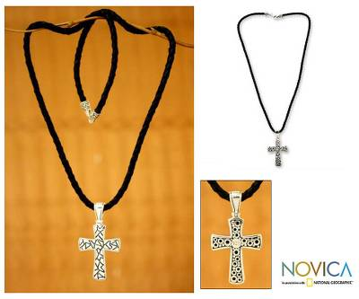Men's sterling silver cross necklace, 'Puzzle' - Handmade Men's Silver Cross Necklace
