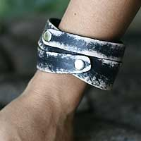 Men's leather wrap bracelet, 'Black Coffee' - Men's Leather Wristband Bracelet