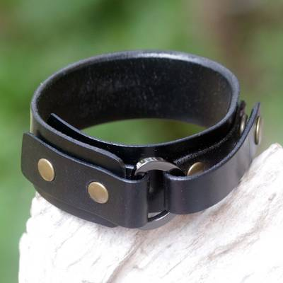 Men's leather wristband bracelet, 'Bold Black' - Men's Studded Leather Wristband Bracelet