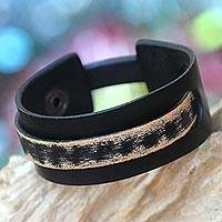 Men's leather wristband bracelet, 'Coal Trendsetter' - Men's Handmade Leather Wristband Bracelet