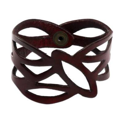 Floral Red Leather Wristband Bracelet