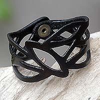 Leather wristband bracelet, 'Licorice Nest' - Handcrafted Leather Wristband Bracelet from Indonesia