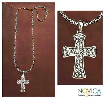 Sterling silver cross necklace, 'Living Spirit' - Handcrafted Sterling Silver Cross Necklace