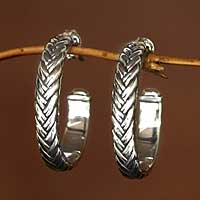 Sterling silver half hoop earrings, 'Braids'