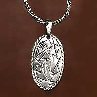 Sterling silver men's necklace, 'Liberty' - Men's Handcrafted Sterling Silver Pendant Necklace