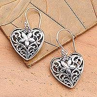 Sterling silver heart earrings, 'Love Blossoms'