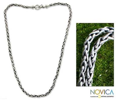 Men's sterling silver chain necklace, 'Sea Fern' - Men's Sterling Silver Chain Necklace