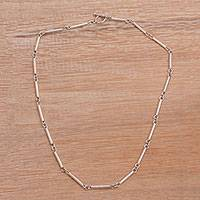 Sterling silver chain necklace, Driftwood