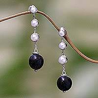 Pearl and ebony dangle earrings, 'Opportunity' - Pearl and ebony dangle earrings