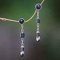 Ebony dangle earrings, 'Patience' - Ebony dangle earrings