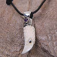 Amethyst men's necklace, 'Brave Eagle' - Men's Sterling Silver and Amethyst Bird Necklace