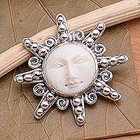 Sterling silver brooch pin, 'Smiling Moon' - Carved Bone Sterling Silver Brooch Pin