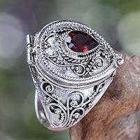 Garnet solitaire locket ring, 'Secret Love'