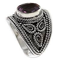 Amethyst solitaire ring, 'Lilac Lake' - Sterling Silver and Amethyst Ring