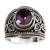 Amethyst solitaire ring, 'Lilac Lake' - Sterling Silver and Amethyst Ring (image 2c) thumbail