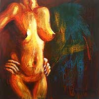 'Challenging' - Expressionist Artistic Nude Painting