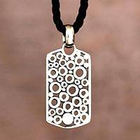 Mens sterling silver pendant necklace, Illusion